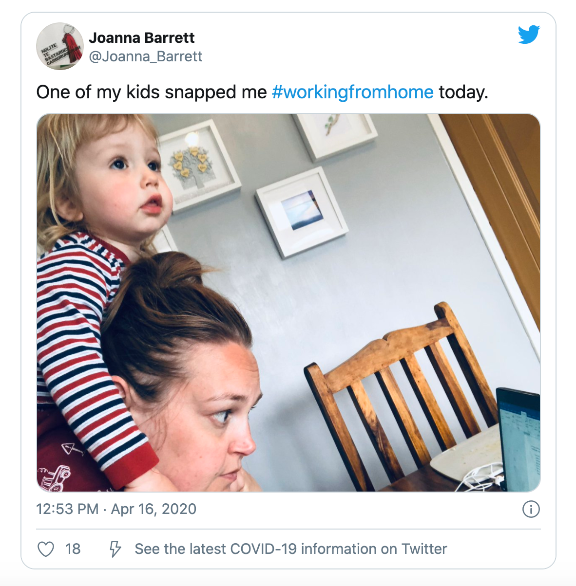 Tweet about working from home with kids